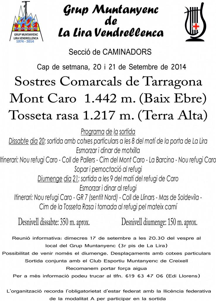Cartell Sortida Mont Caro-Tosseta Rasa