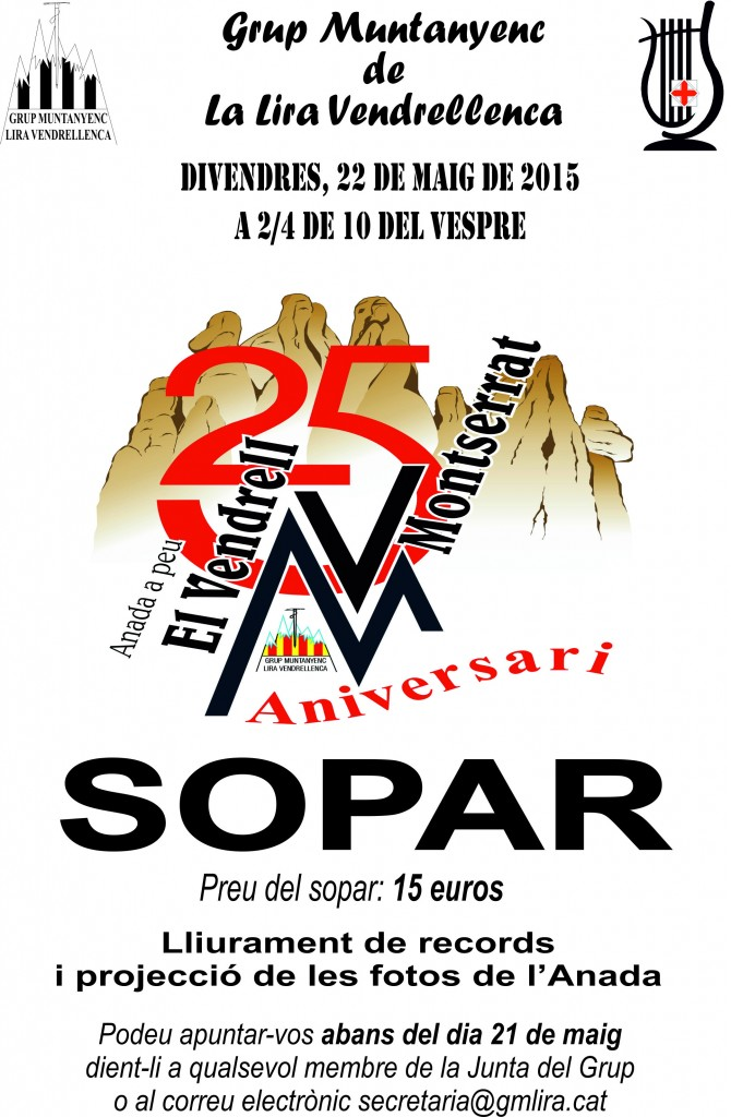Cartell Sopar 25 Anada a Montserrat