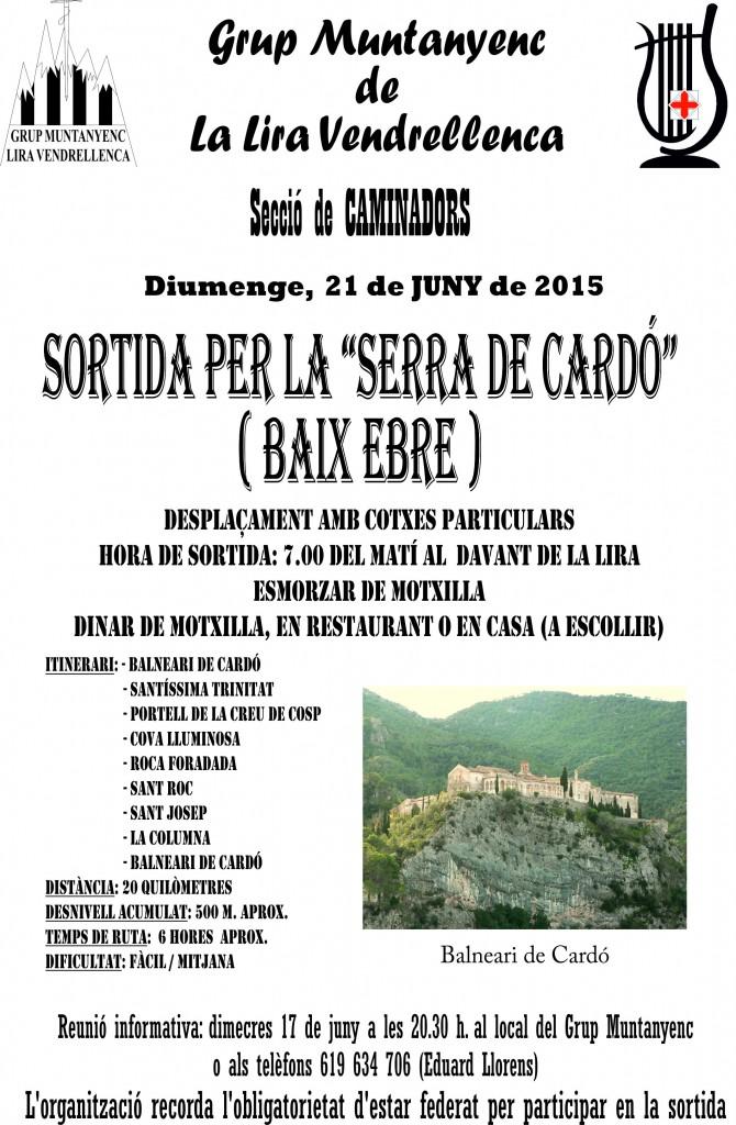 Cartell Sortida per la Serra de Cardó