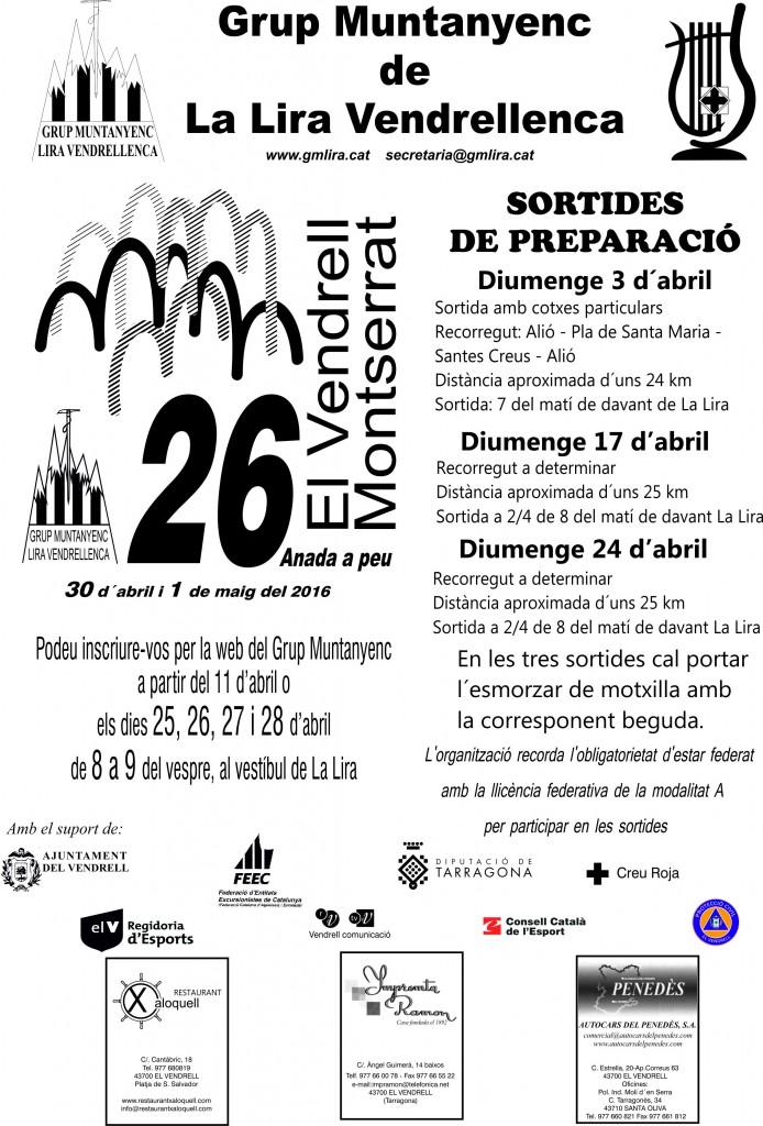 Cartell de les preparatòries de l'Anada a Montserrat  2016